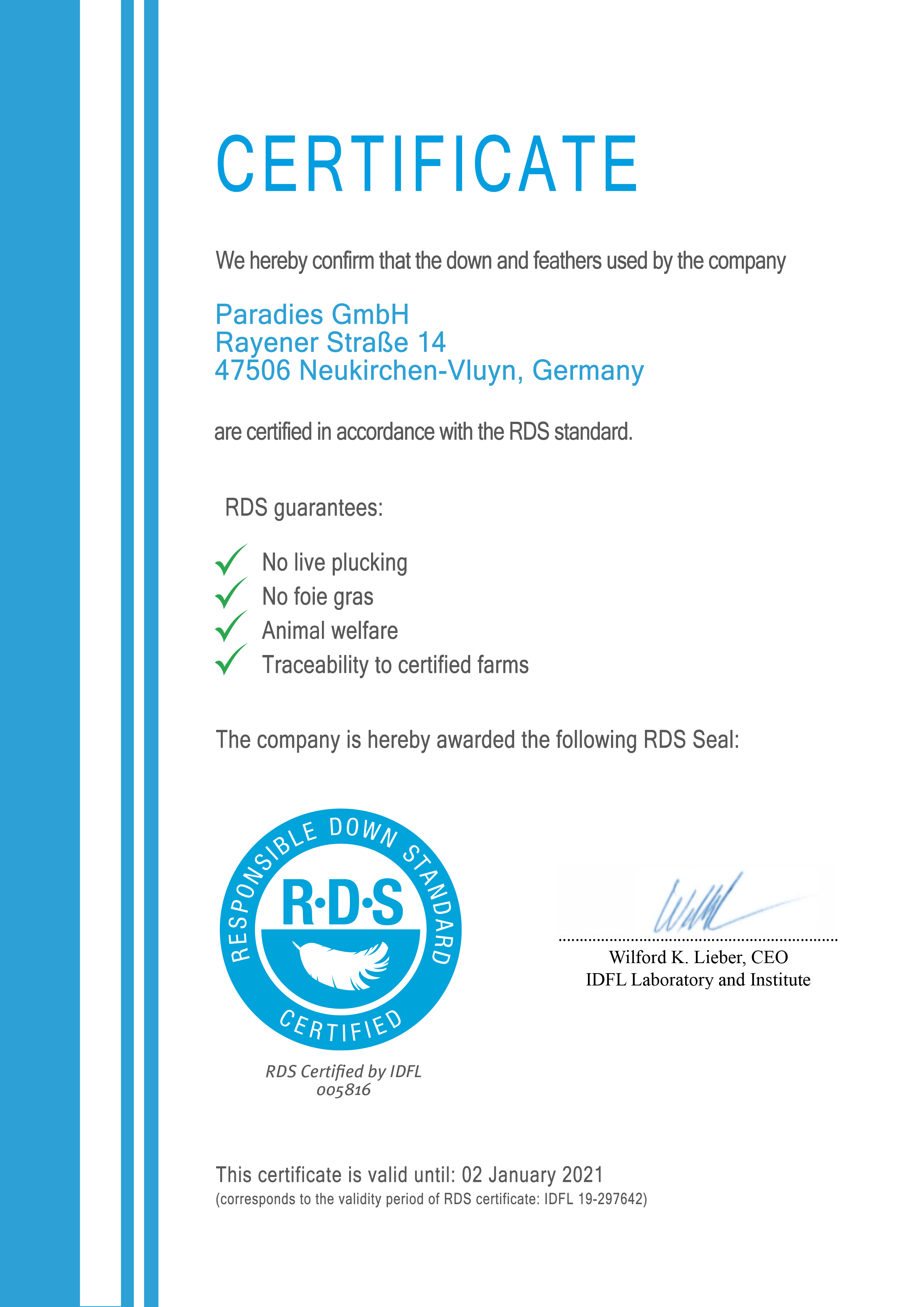 RDS Certificate