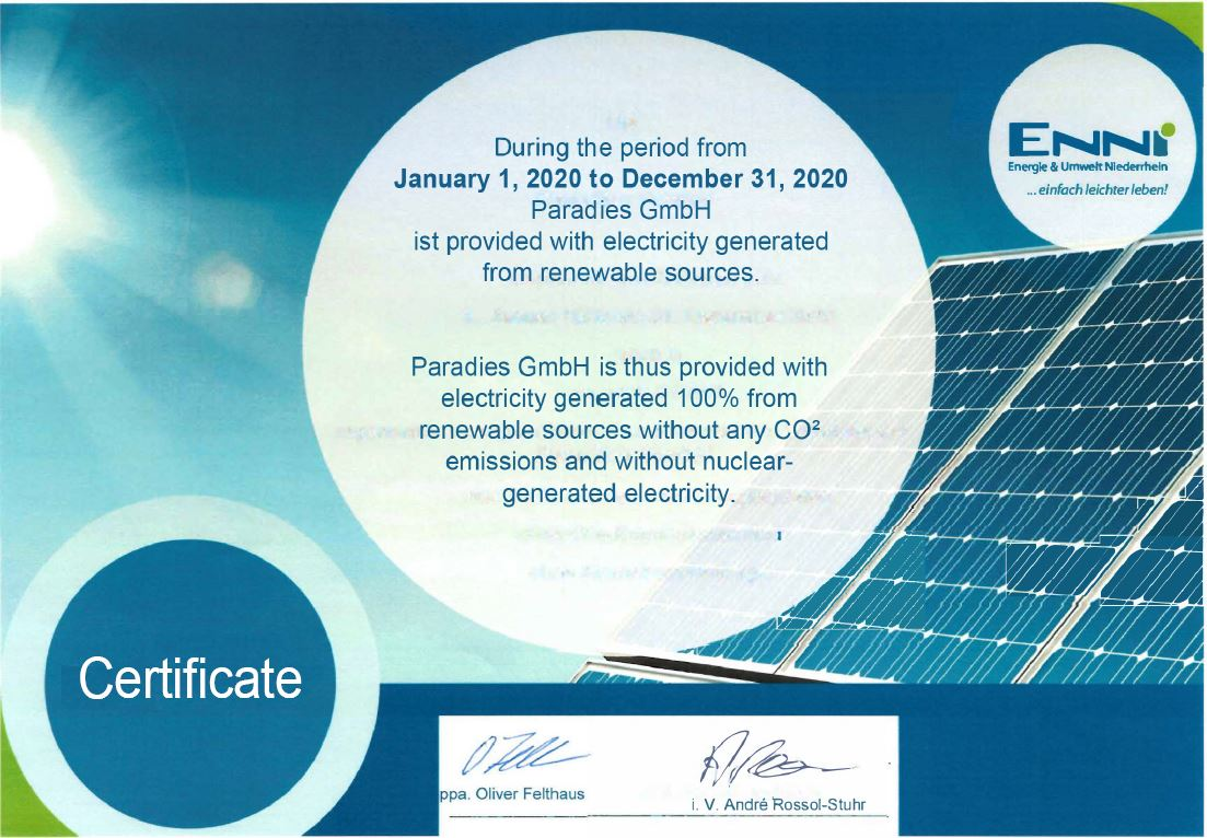 Electricity from 100% renewable energy sources